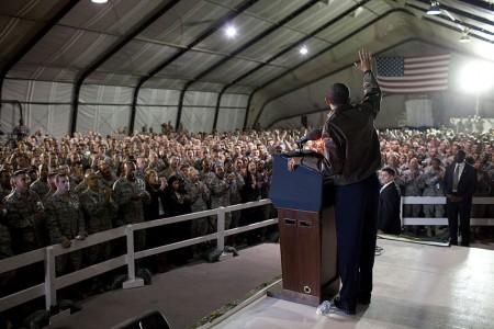Barack Obama waves to U.S. troops at Bagram Air Field in Afghanistan