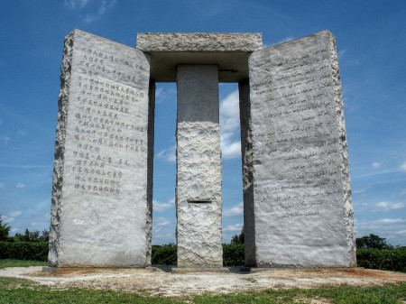 The Georgia Guidestones Which Advocate A Maximum Human Population Of 500 Million