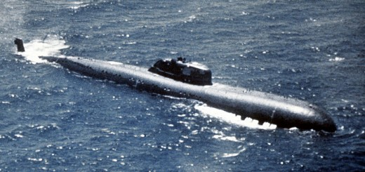 Aerial starboard beam view of a Soviet Charlie I class nuclear-powered submarine - Public Domain