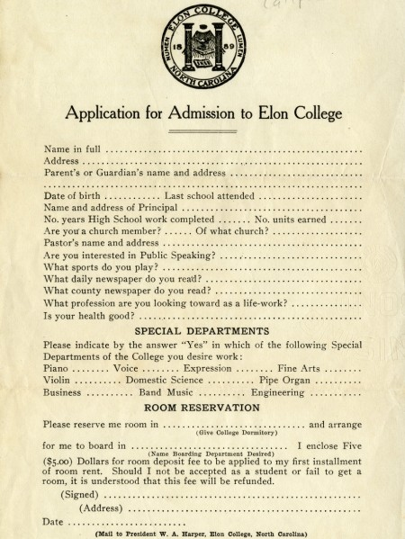 College Application From 1922