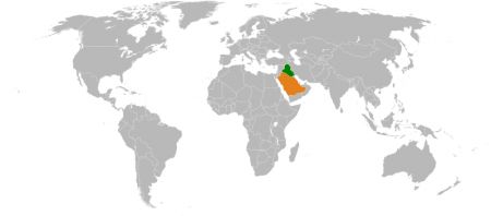 Saudi Arabia And Iraq On A Map - Public Domain