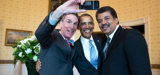 Barack Obama poses for a selfie with Bill Nye, left, and Neil DeGrasse Tyson in the Blue Room prior to the White House Student Film Festival - Public Domain