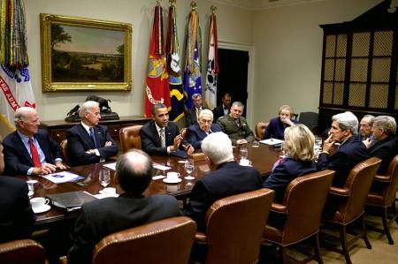 Henry Kissinger Sitting Next To Barack Obama