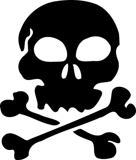 skull black silhouette cross bones death - Public Domain