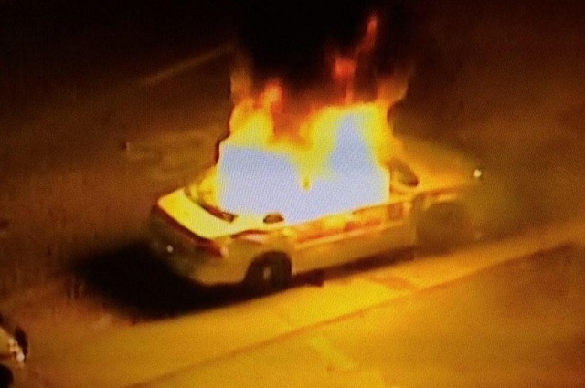 Ferguson Police Car On Fire