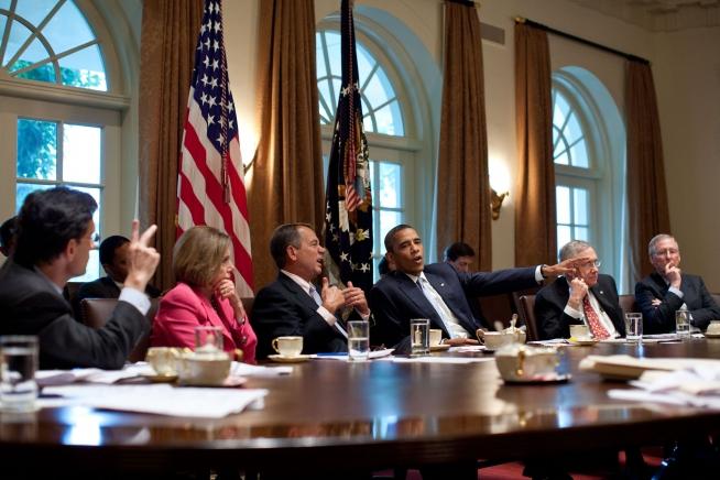 Obama, Pelosi, Reid, Boehner, McConnell - Public Domain