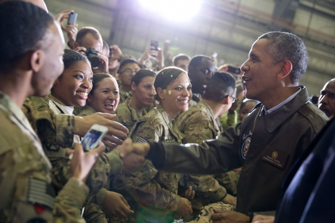 Obama Visits Troops - Public Domain