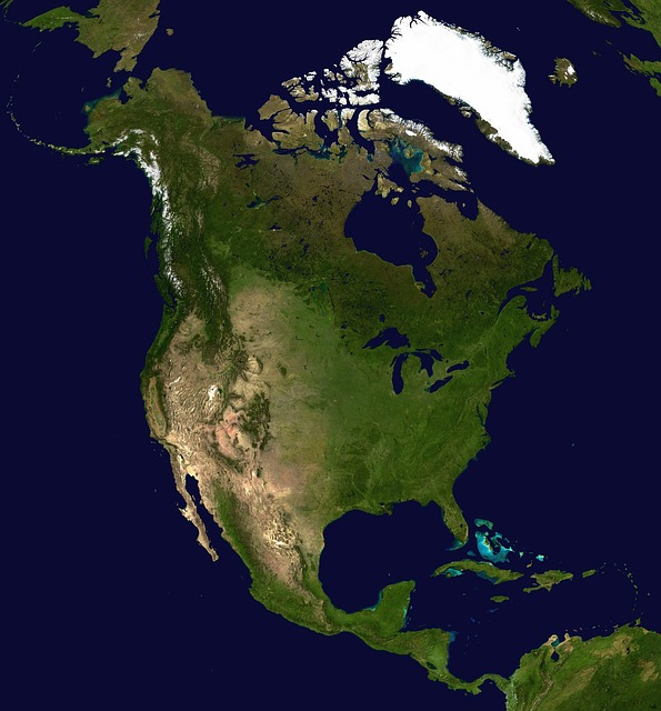 North America Map - Public Domain