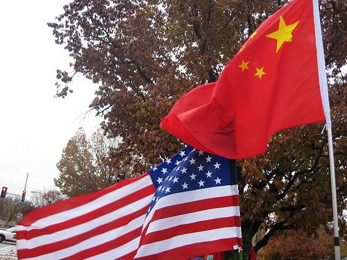 Chinese Flag American Flag