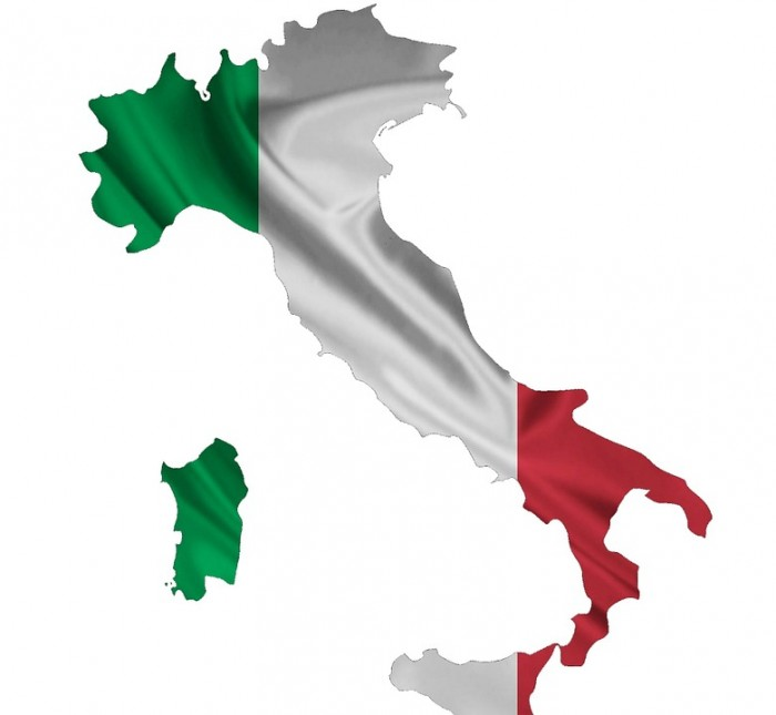 Italy Flag Map - Public Domain