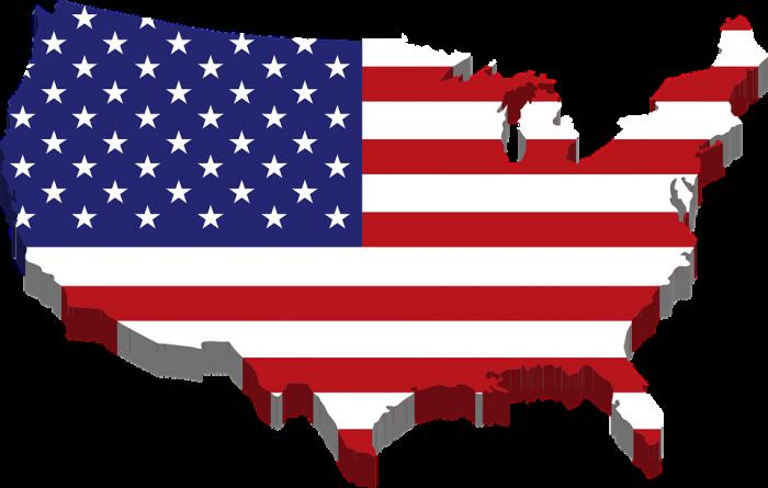 American Flag Map - Public Domain