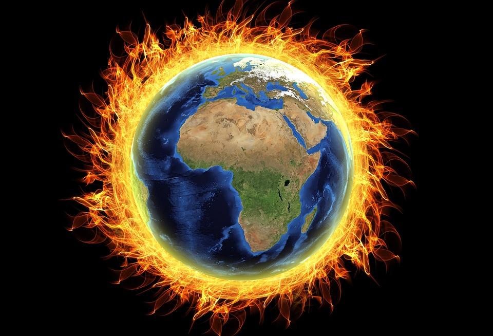 Globe On Fire - Public Domain