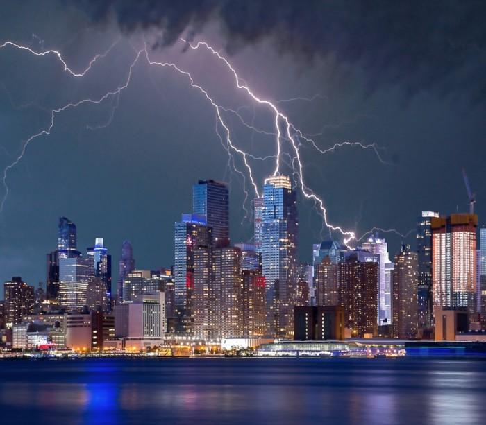 New York Skyline Lightning - Public Domain