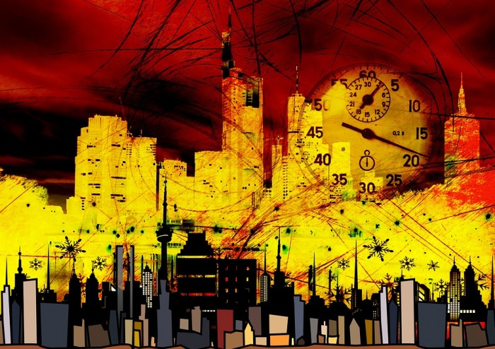 city skyscrapers clock time stopwatch seconds - public domain