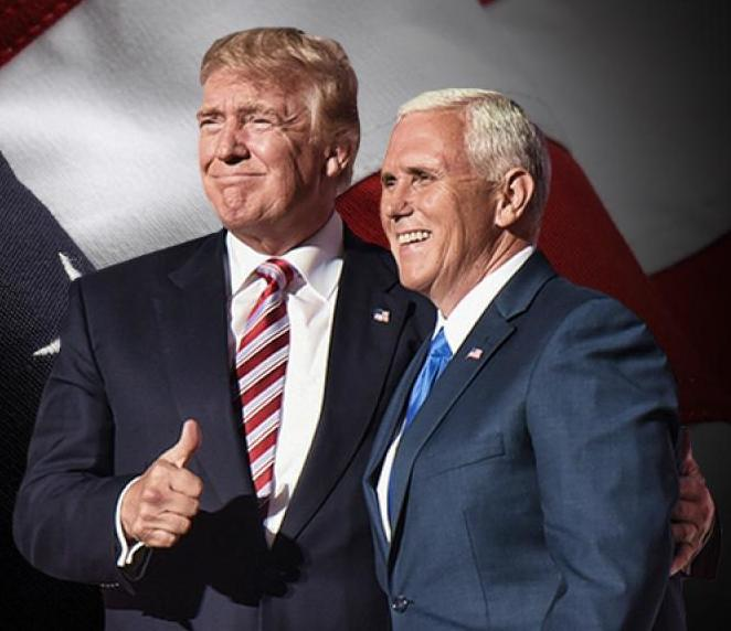 Trump Pence - Official photo of the presidential transition of Donald Trump with vice president-elect Mike Pence