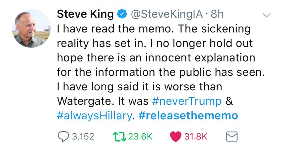 Release The Memo – Steve King Tweet | The Most Important News